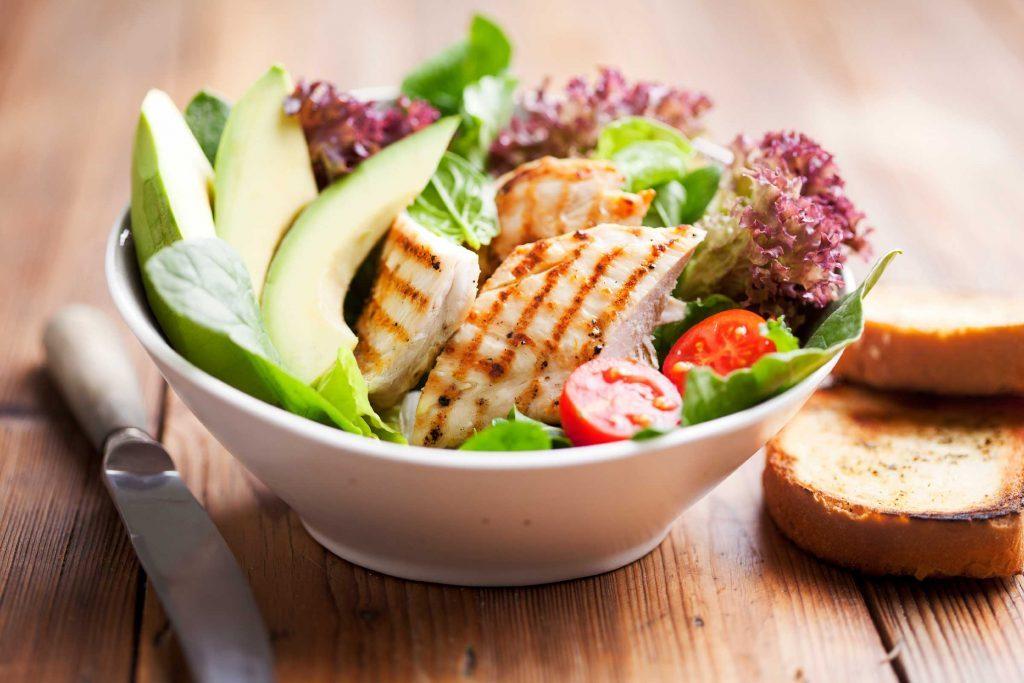 avocado, fish, and tomato salad