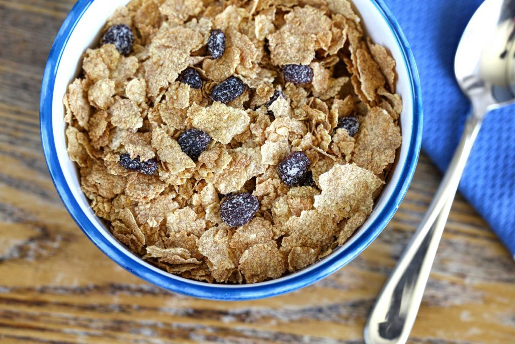 bowl of raisin bran cereal