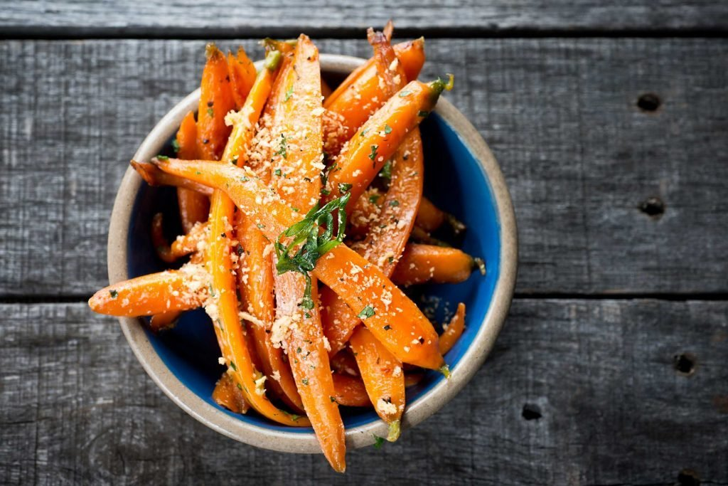seasoned strips of carrots in a bowl