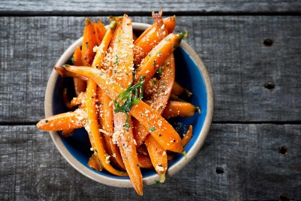 seasoned strips of carrots in a bowl