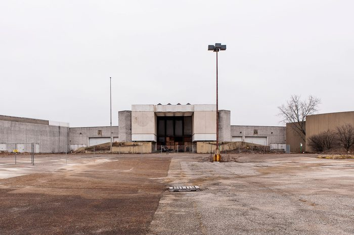 A view from the parking lot of the abandoned Randall Park Mall in Randall Park, Ohio. It was once the largest shopping center in the United States.
