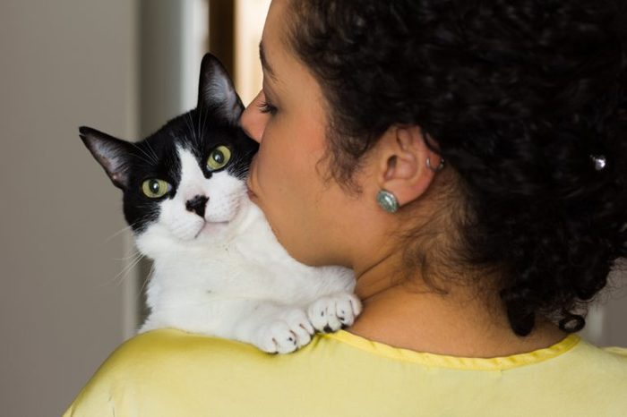 Close up of woman with curly hair holding and kissing her domestic black and white kitten with green eyes on the shoulder. Concept of love to animals, pets, lifestyle, care. Room interior, at home.