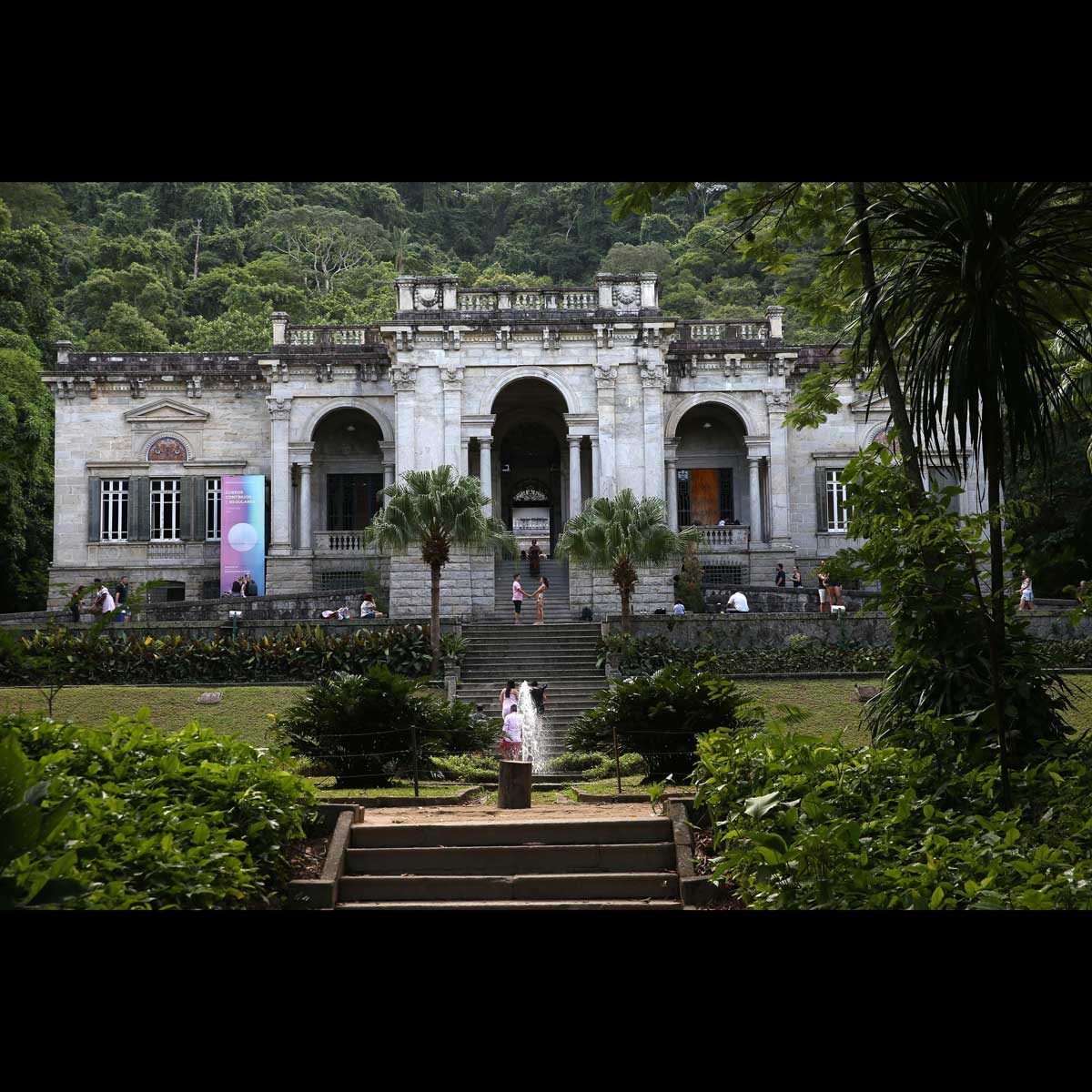 View of the Lage Park Mansion in Rio de Janeiro, Brazil