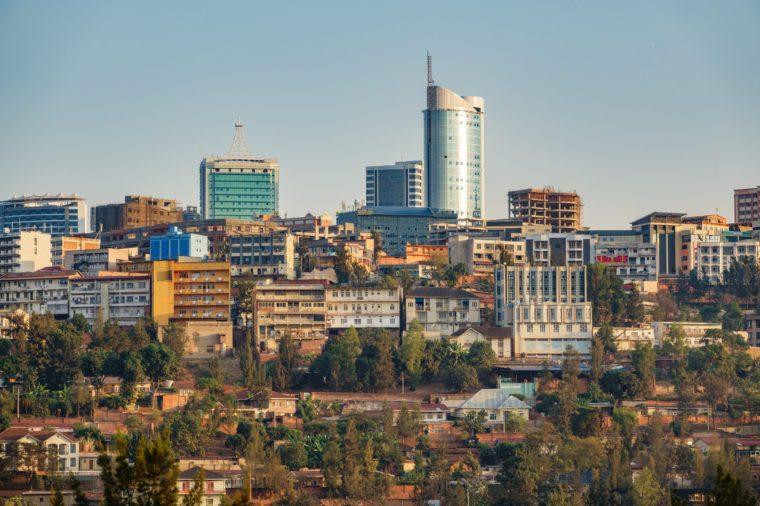 Long shot of Kigali downtown in Rwanda