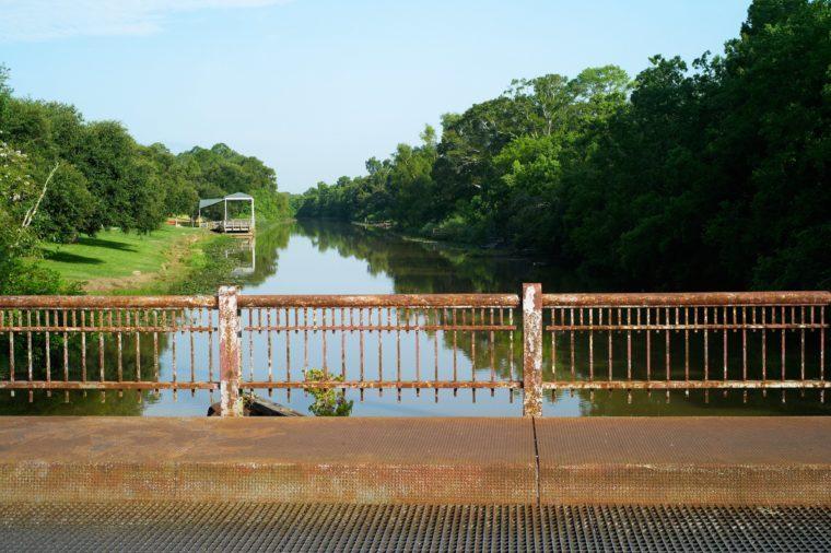 Rusty Steel Bridge over Bayou Teche - Breaux Bridge, Louisiana, USA