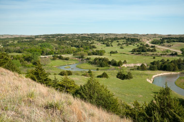 Sandhillls in Nebraska from scenic overlook.