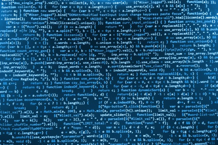 Software developer programming code. Abstract computer script code. Blue color. (MORE SIMILAR IN MY GALLERY)