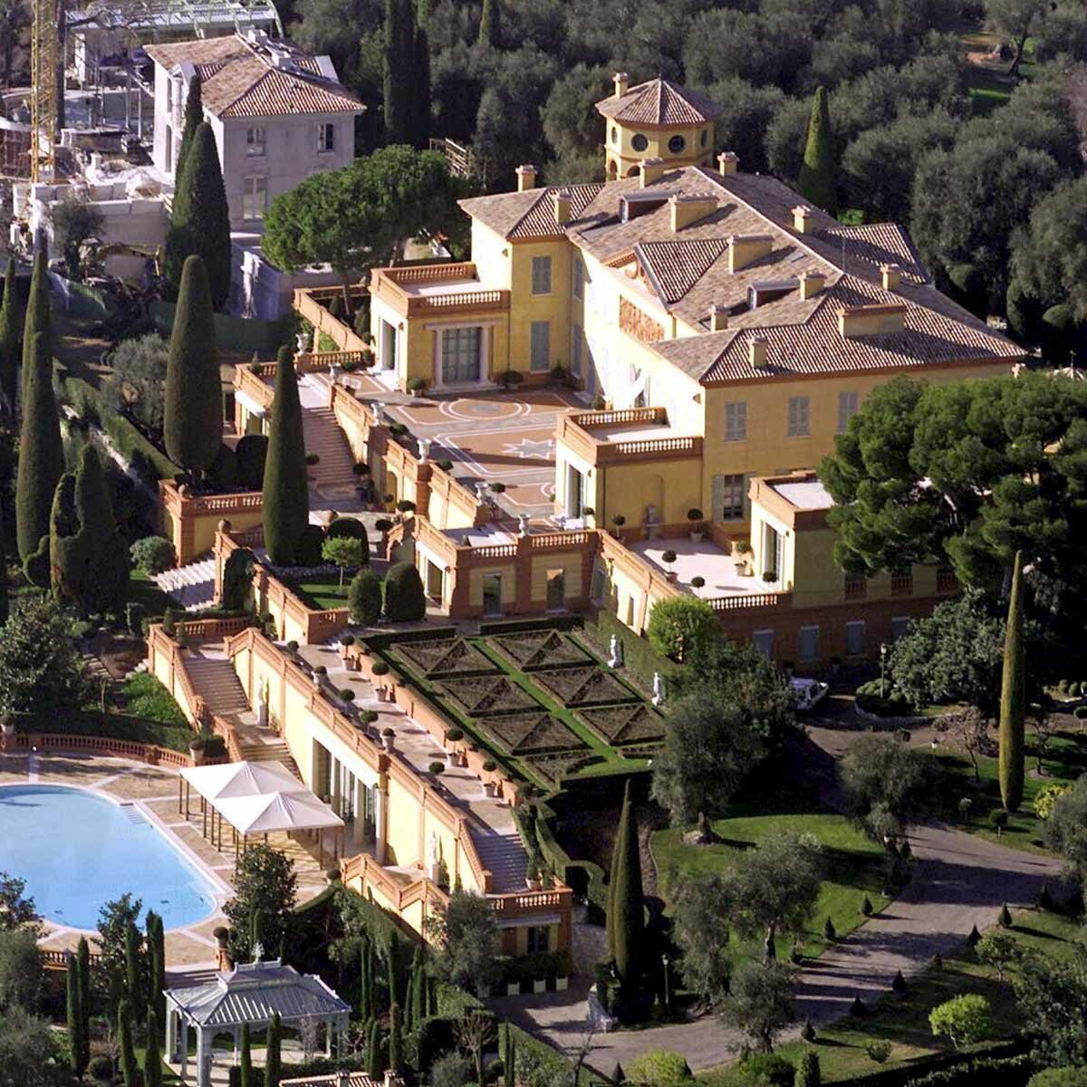 Aerial view of Villa Leopolda, built in 1900 by King Leopold of Belgium. It has 19 bedrooms and a double swimming pool over a 7 hectares terrain.