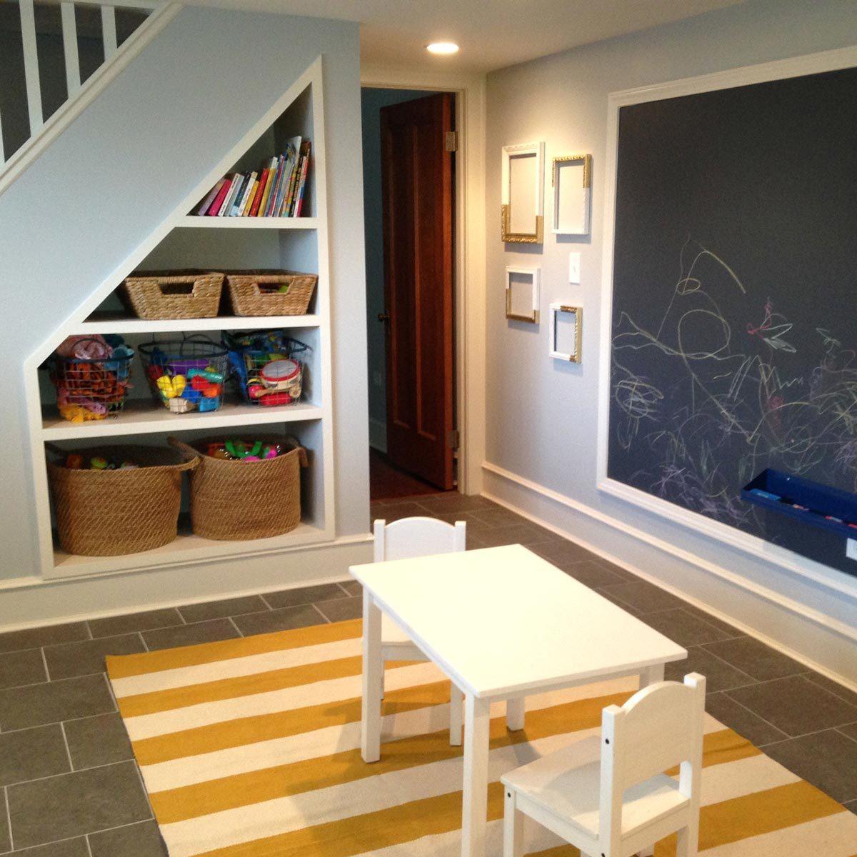 builtin-shelves organizing your basement