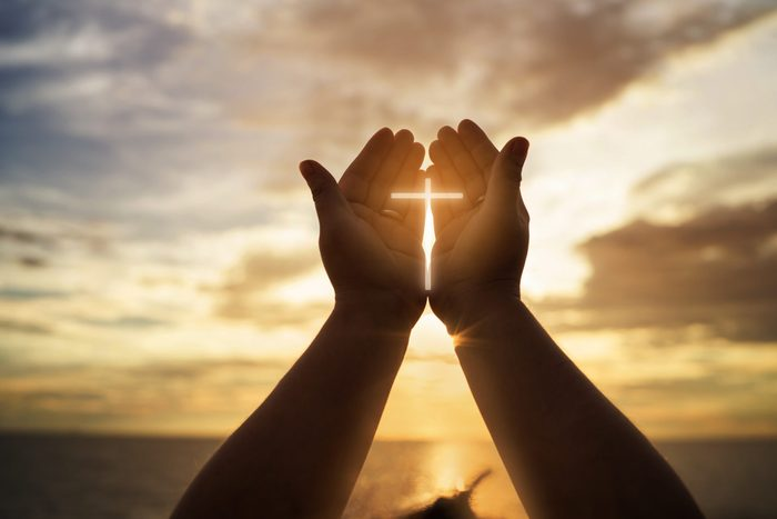 Human hands open palm up worship. Eucharist Therapy Bless God Helping Repent Catholic Easter Lent Mind Pray. Christian concept background.