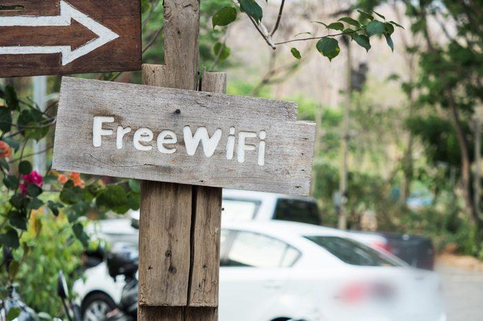 Free Wifi zone sign