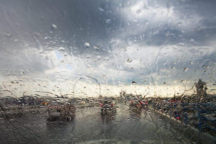 rainy window in traffic
