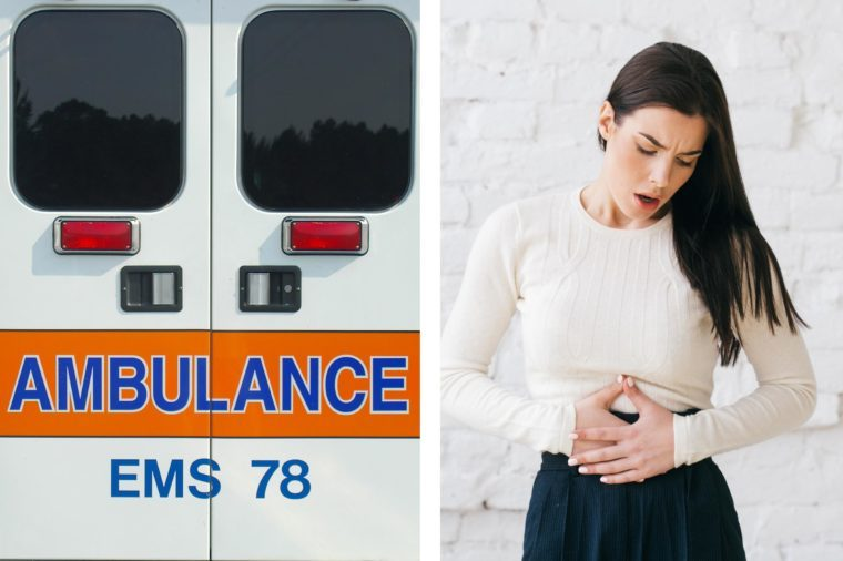 Upper abdominal pain - short of breath woman ambulance doors