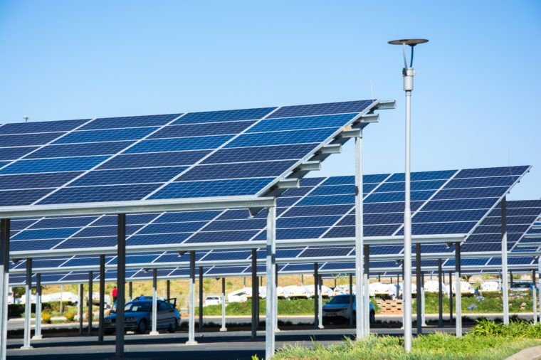 New solar panel carports in the parking lot of the Makro store