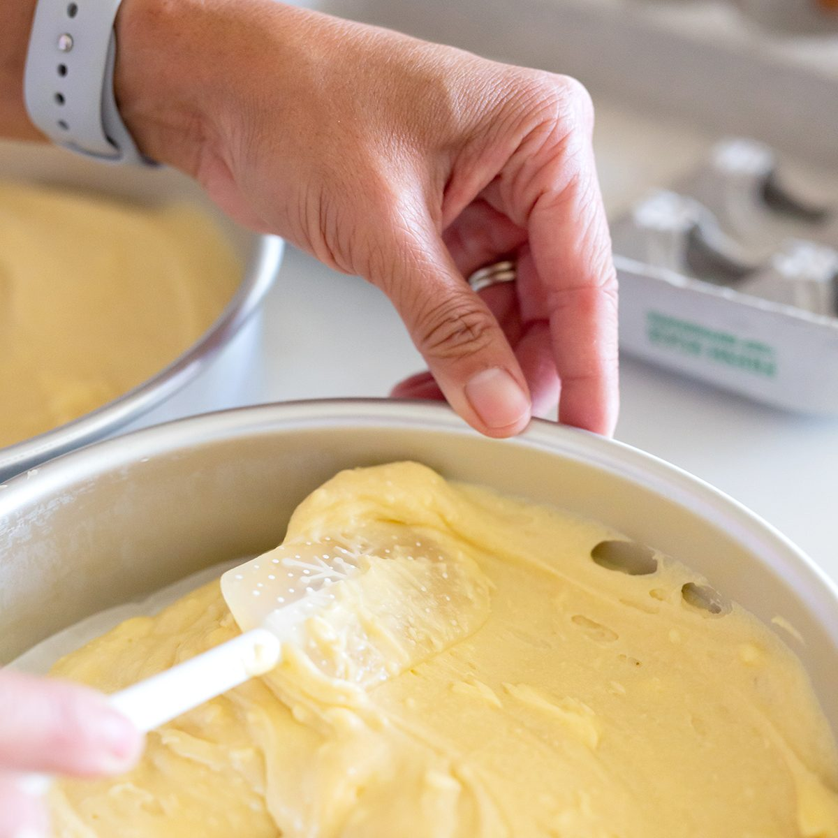 Yellow Cake Mix Spread in Pan; Shutterstock ID 1485217412; Job (TFH, TOH, RD, BNB, CWM, CM): TOH