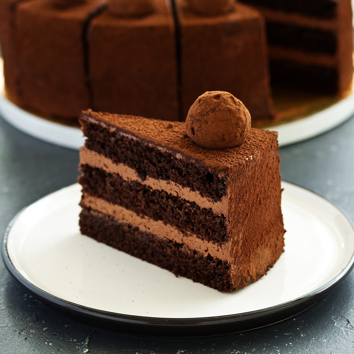 Chocolate cake. A slice of chocolate cake. Selective focus; Shutterstock ID 1499400482; Job (TFH, TOH, RD, BNB, CWM, CM): TOH