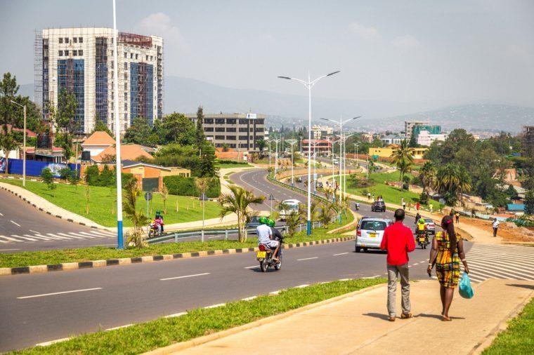 KIGALI, RWANDA - CIRCA FEBRUARY 2017: A view towards town and some university buildings in Kigali.