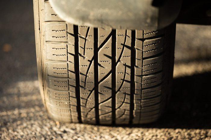 Car Tire Tread Showing Minimal Wear