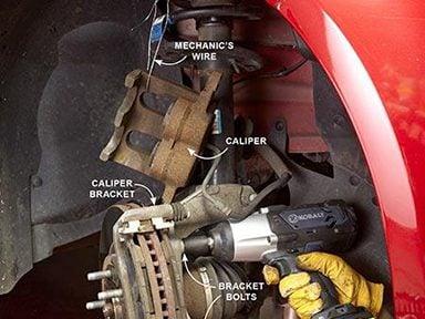 Unbolt the caliper bracket