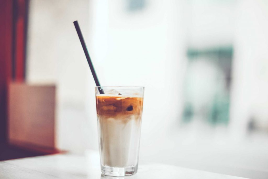 Straw in coffee beverage