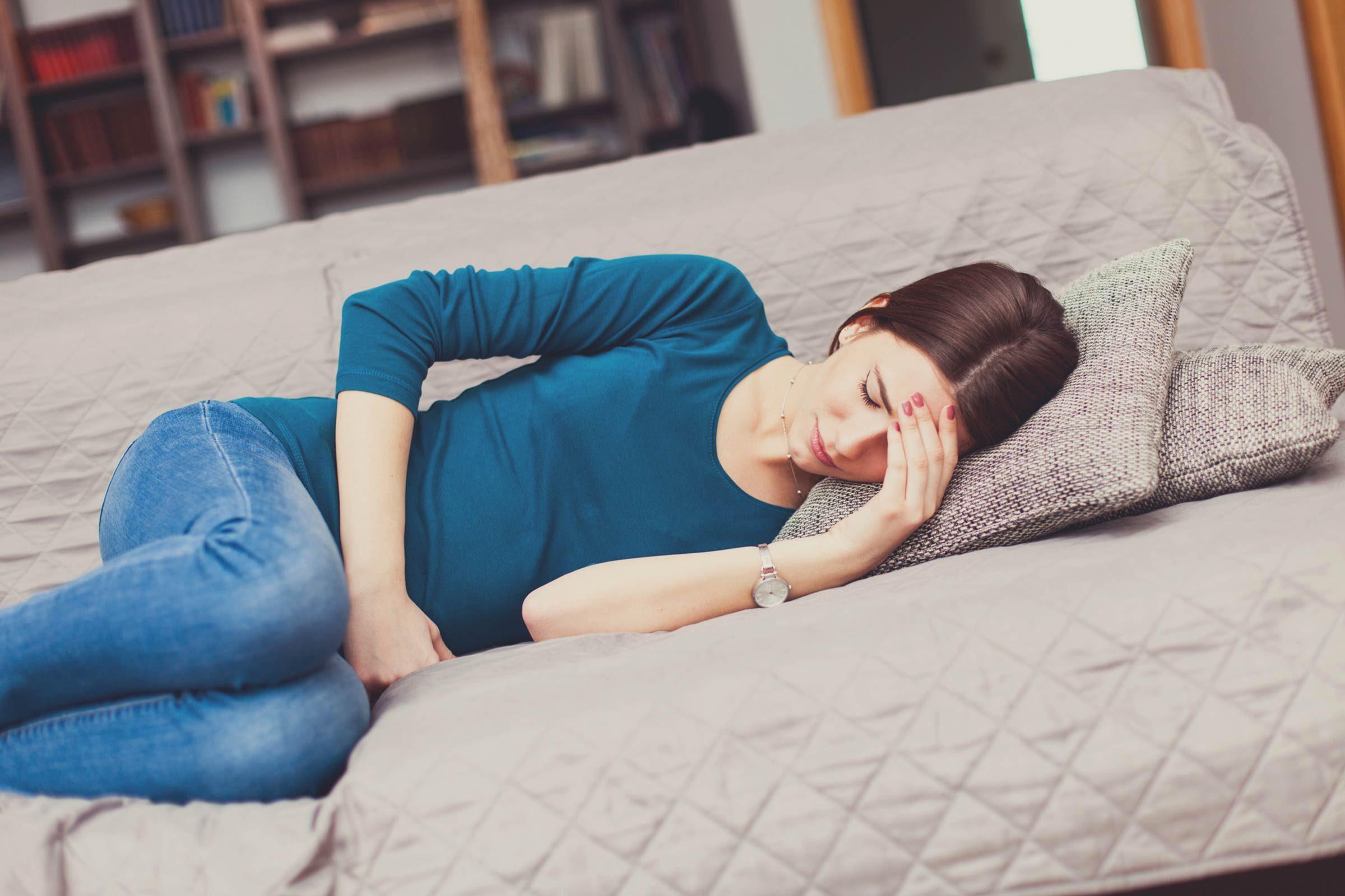 Woman feeling bloated