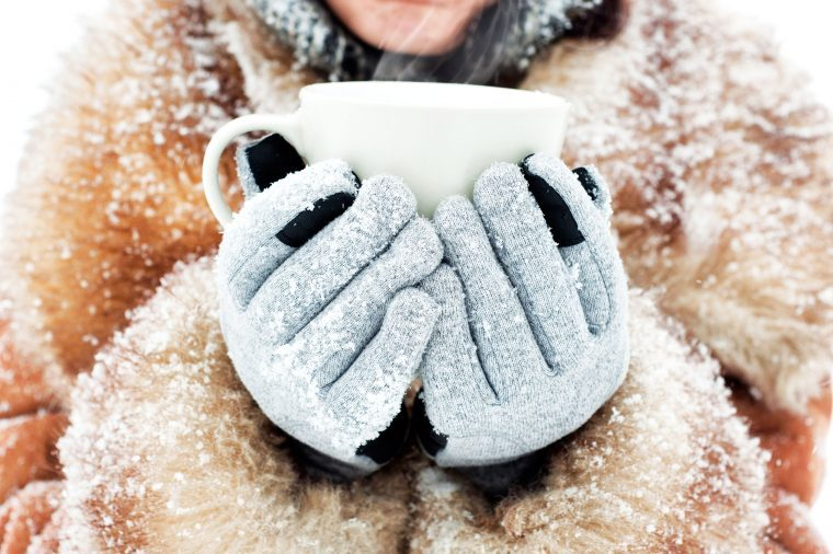 Woman in a fur trimmed collar and gloves holding a mug