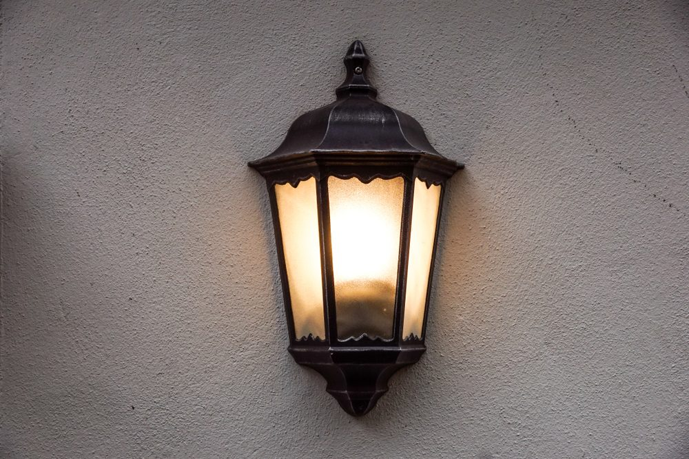 Lamp hanging on the wall