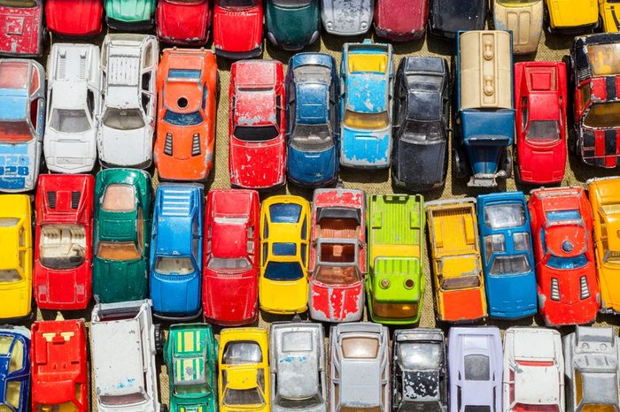 Overhead photograph of old toy cars