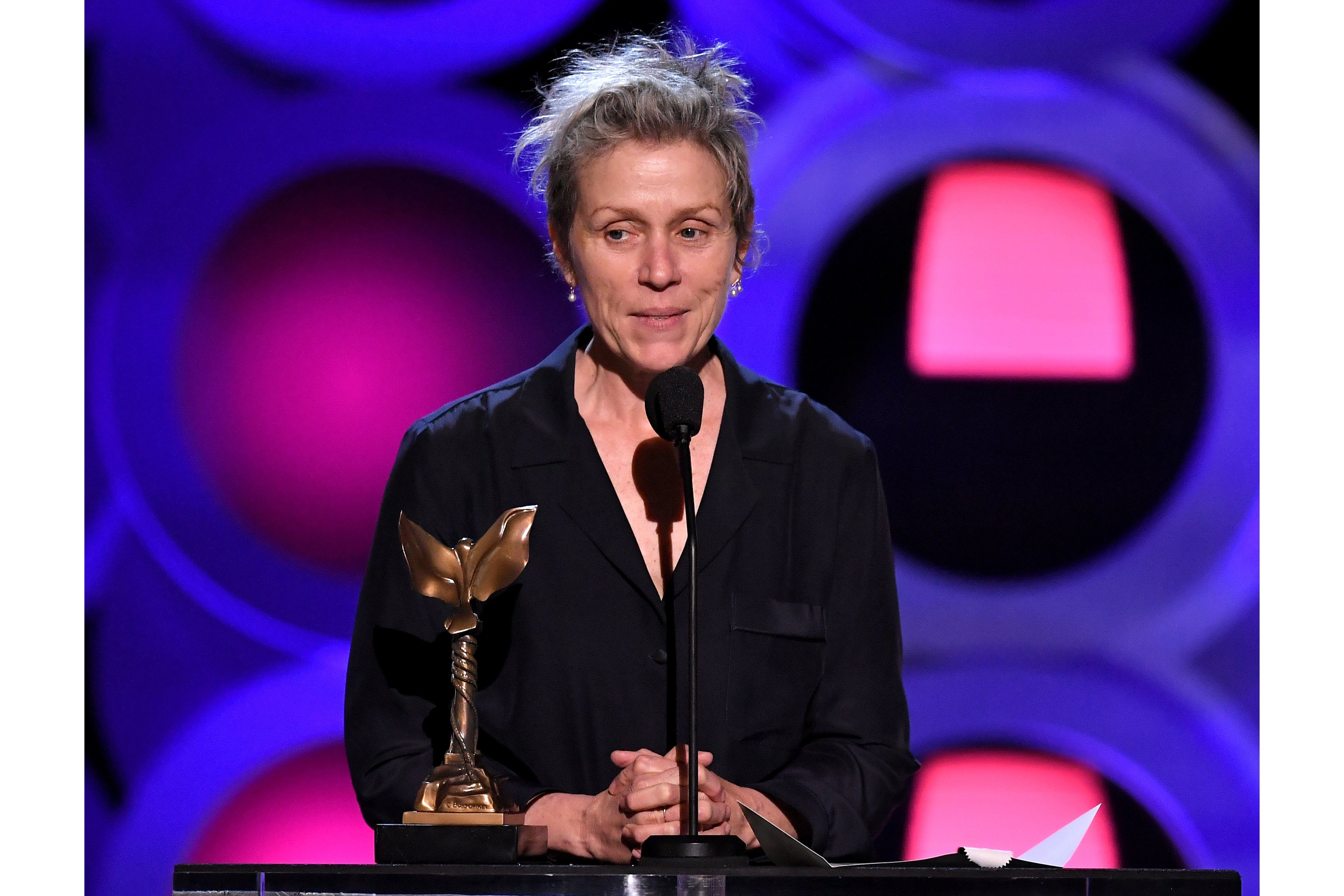 Mandatory Credit: Photo by Rob Latour/Variety/Shutterstock (9447411in) Frances McDormand, 'Three Billboards Outside Ebbing, Missouri' - Best Female Lead 33rd Film Independent Spirit Awards, Show, Los Angeles, USA - 03 Mar 2018