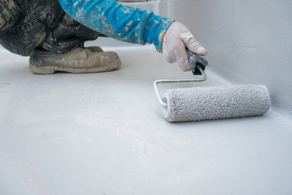 Epoxy paint on concrete floor for water proof protection industrial warehouse in japan