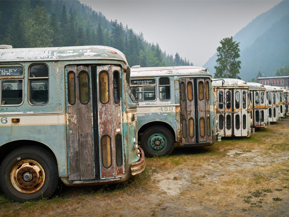 Old buses in Sandon, B.C.