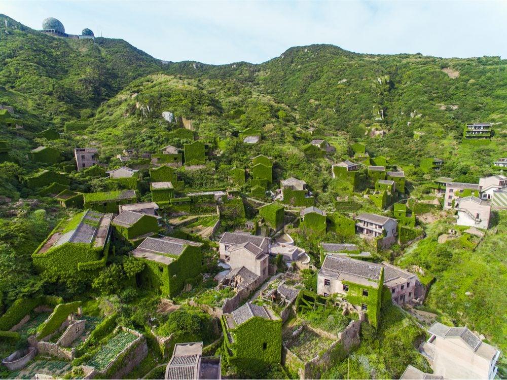 Overgrown houses in Houtouwan