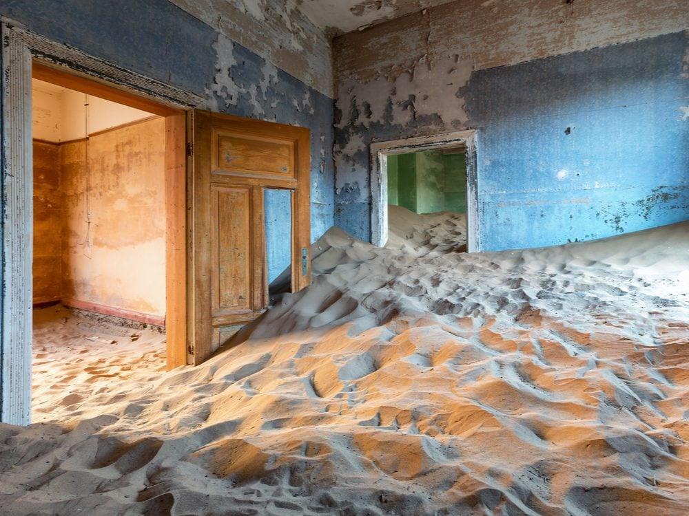 Sand filling a house in Kolmanskop