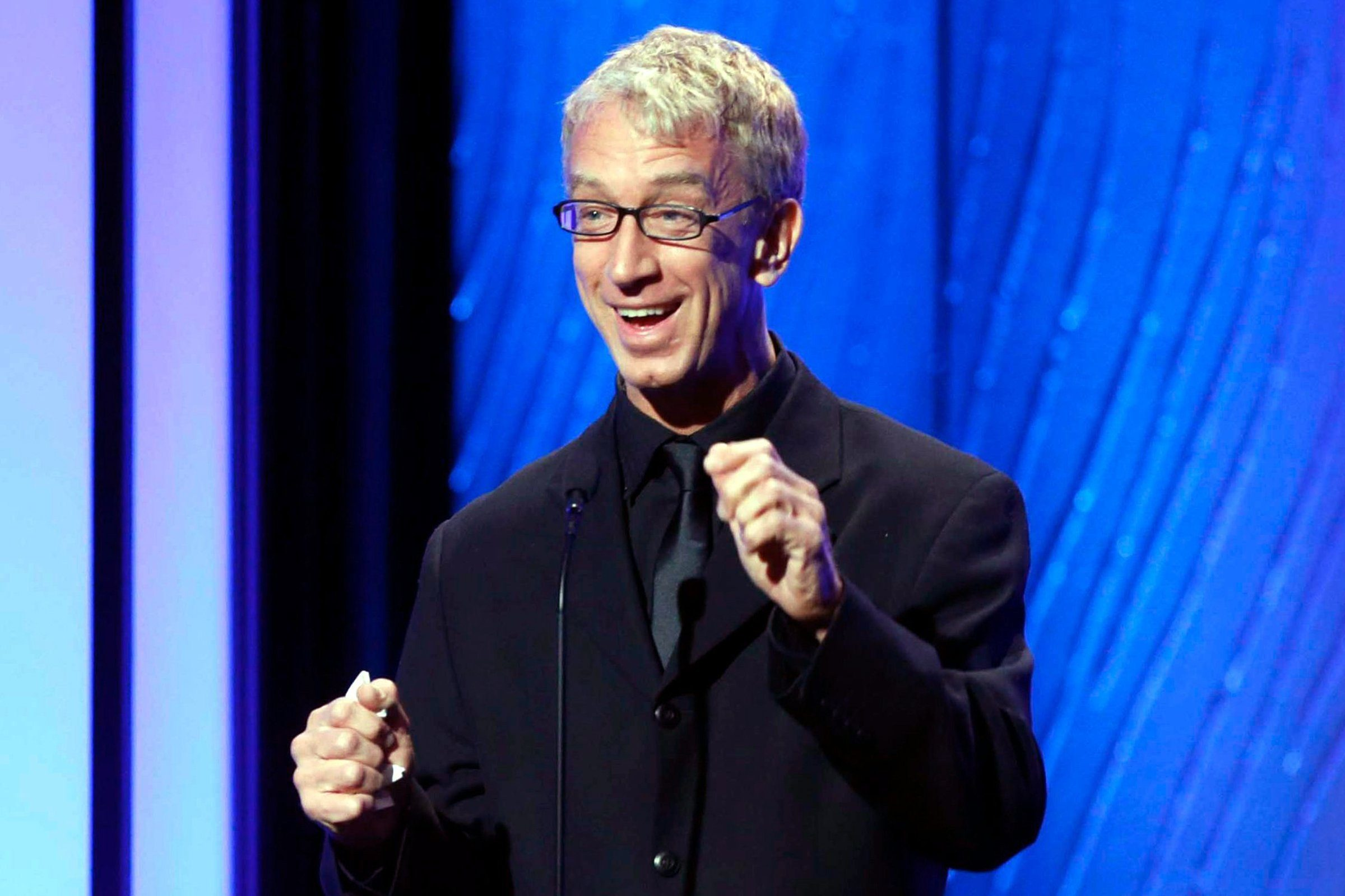 Mandatory Credit: Photo by Todd Williamson/Invision/AP/Shutterstock (9112189a) Comedian Andy Dick speaks onstage during the American Cinematheque 26th Annual Award Presentation to Ben Stiller 2012 in Beverly Hills, Calif. Los Angeles police arrested Dick on suspicion of grand theft late Friday night, Nov. 7, 2014, in Los Angeles' Hollywood district. The celebrity gossip website TMZ.com, which first reported the arrest, said Dick allegedly stole the necklace of a man he encountered on Hollywood Boulevard last week Andy Dick-Arrest, Beverly Hills, USA