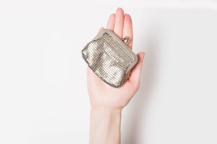 Metal purse on the female palm isolate on a light background.