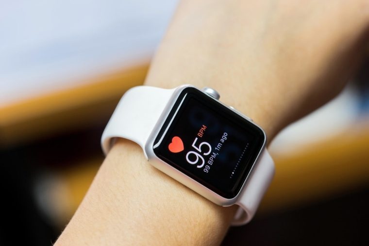 Smart watch with health app icon on screen