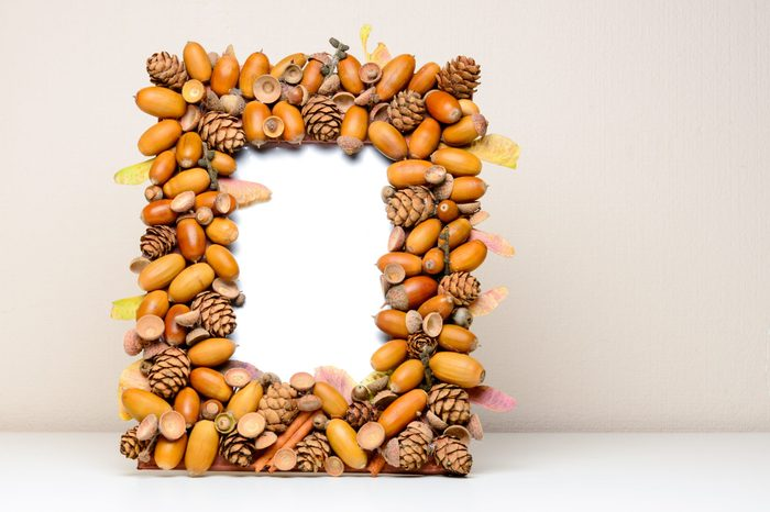 Handmade frame, with acorns, cones and leaves for photo.