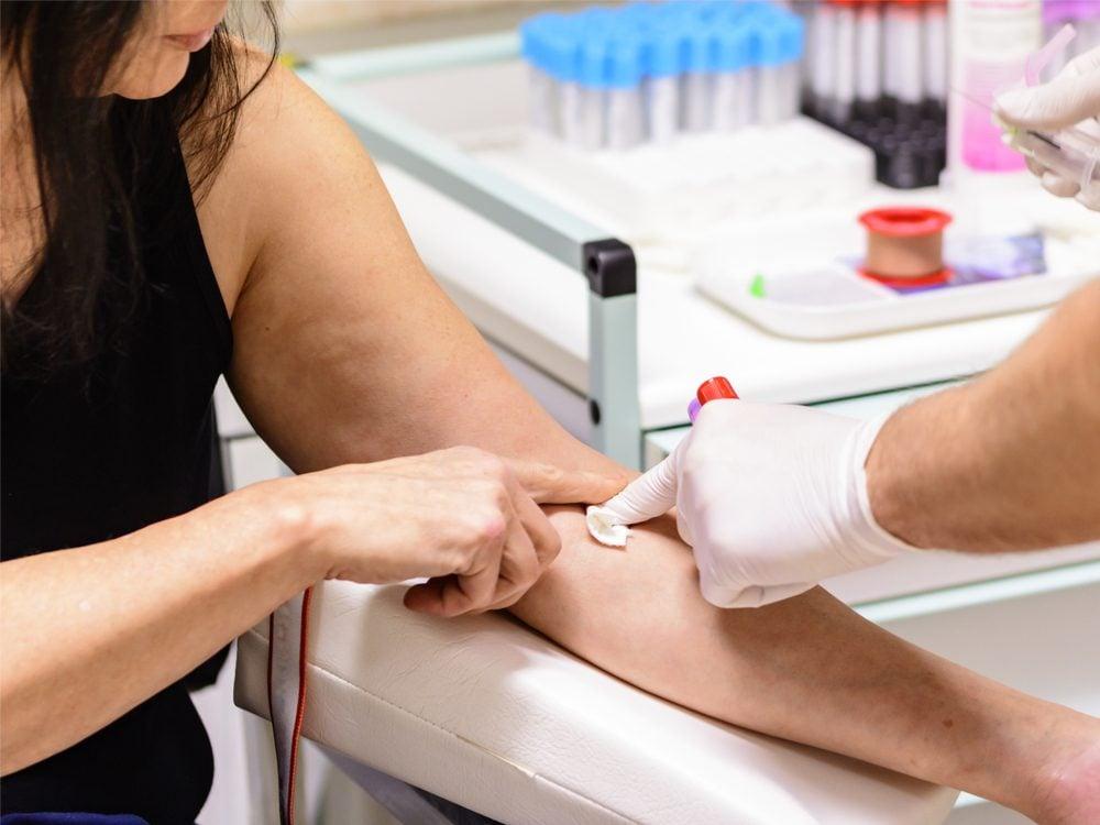 Woman getting blood test