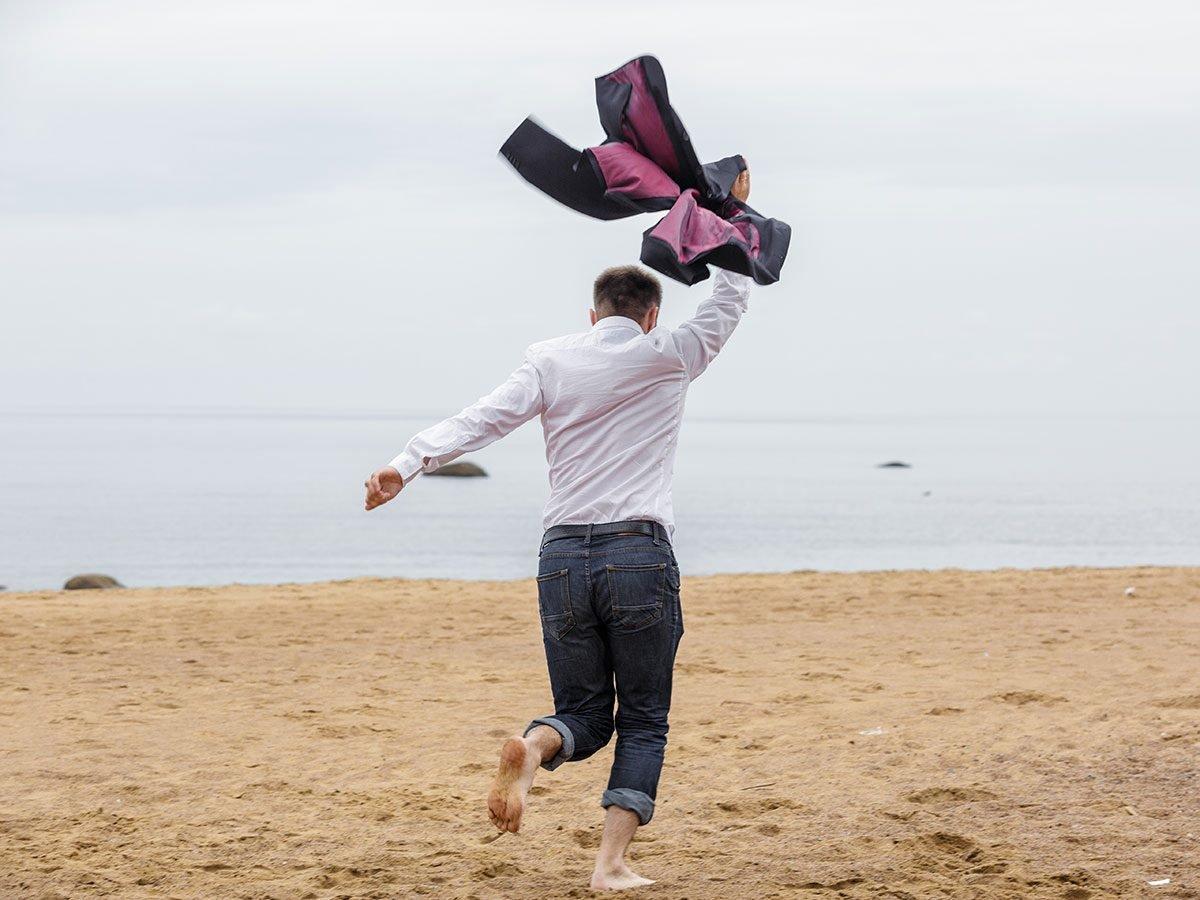 Hilarious Tweets - Business man on beach