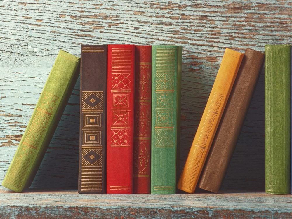 Books against wood