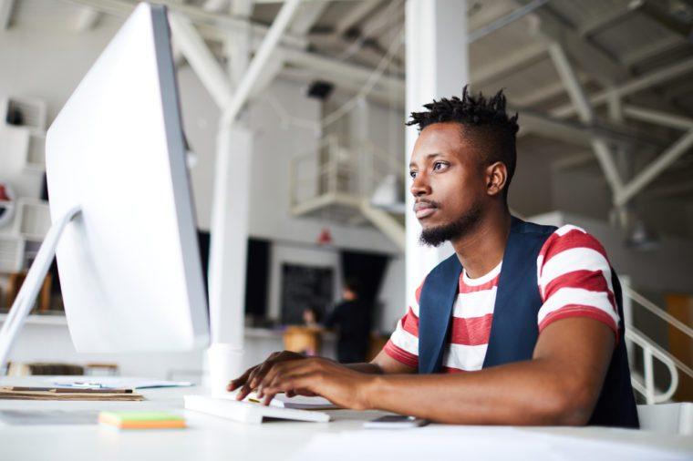 Man sitting at startup company office