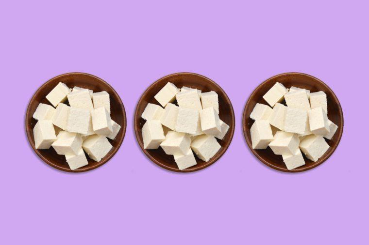 tofu bowls on purple