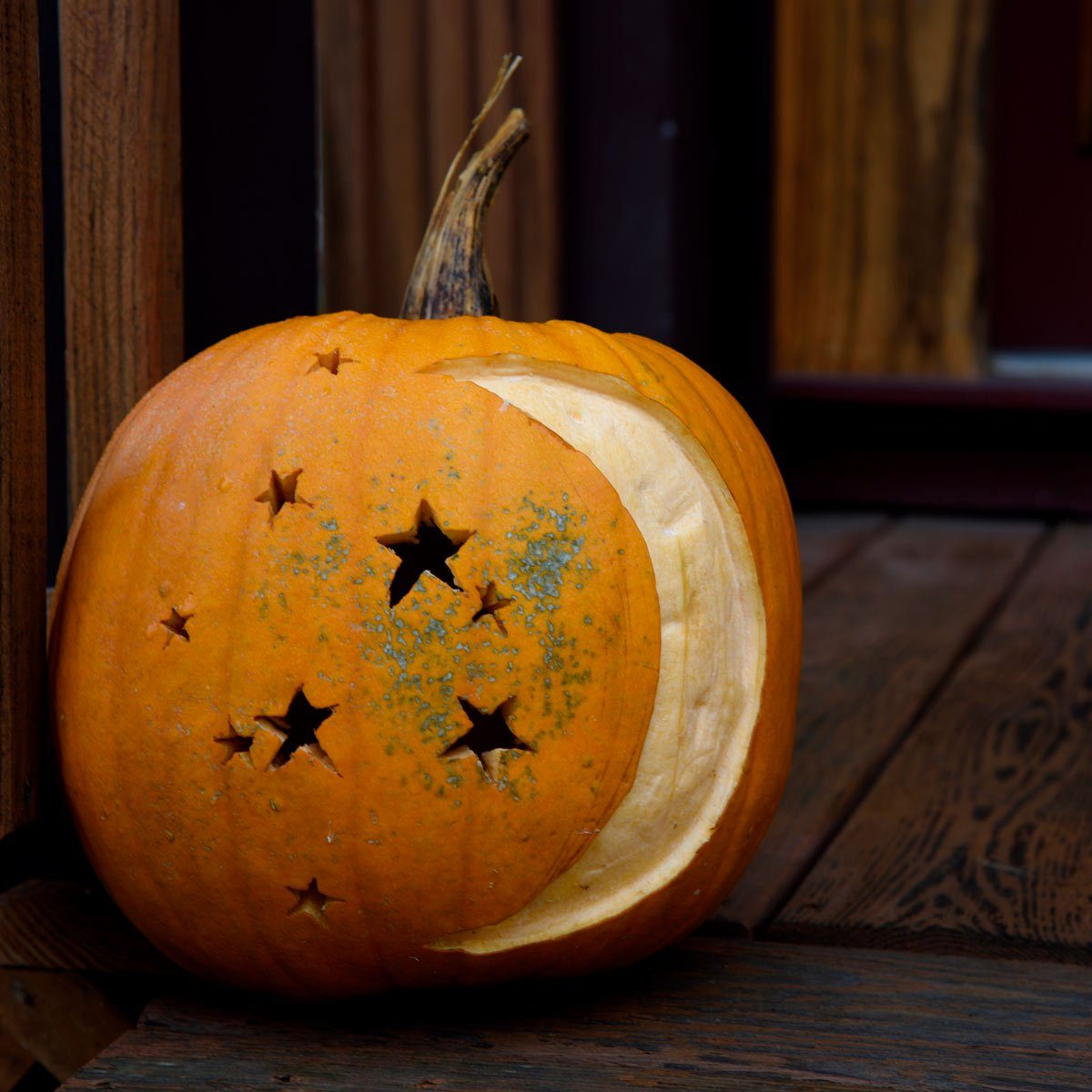 Night sky on pumpkin