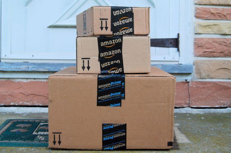 amazon shipping - boxes on doorstep