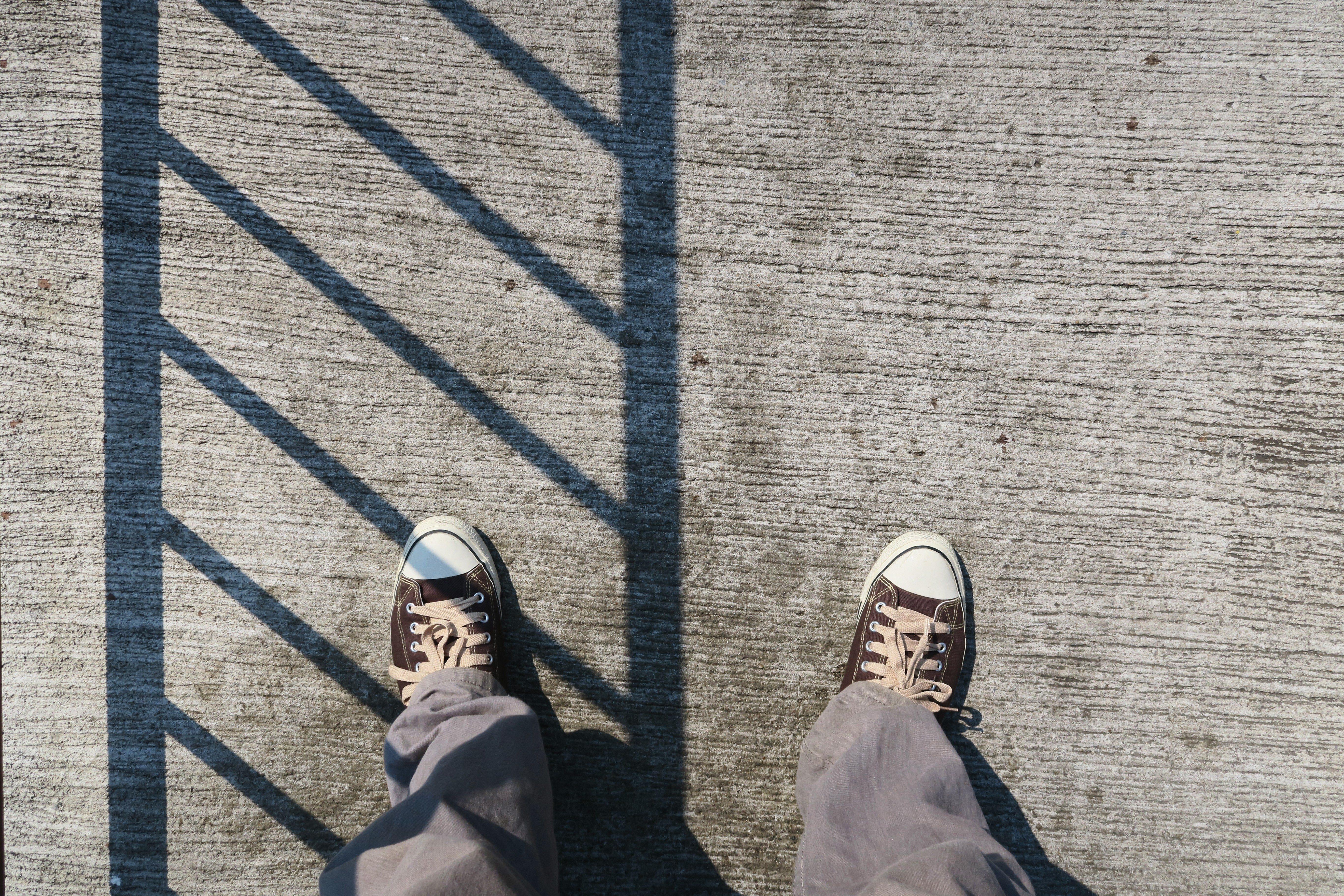 Looking down on feet