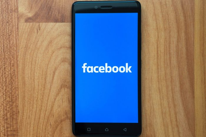 facebook on phone screen