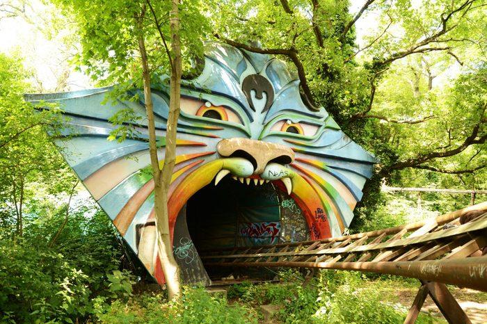 Berlin, Germany – 13 July 2013: An old roller coaster in the abandoned Spreepark in East Berlin, Germany