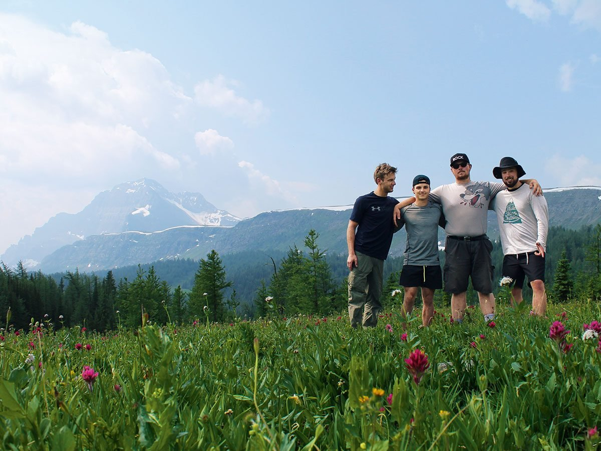 Train across Canada - Young men at Banff National Park