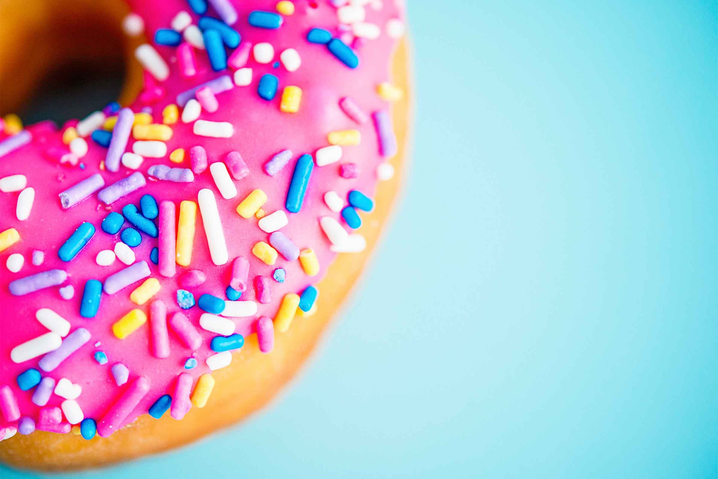 Donut with colourful sprinkles