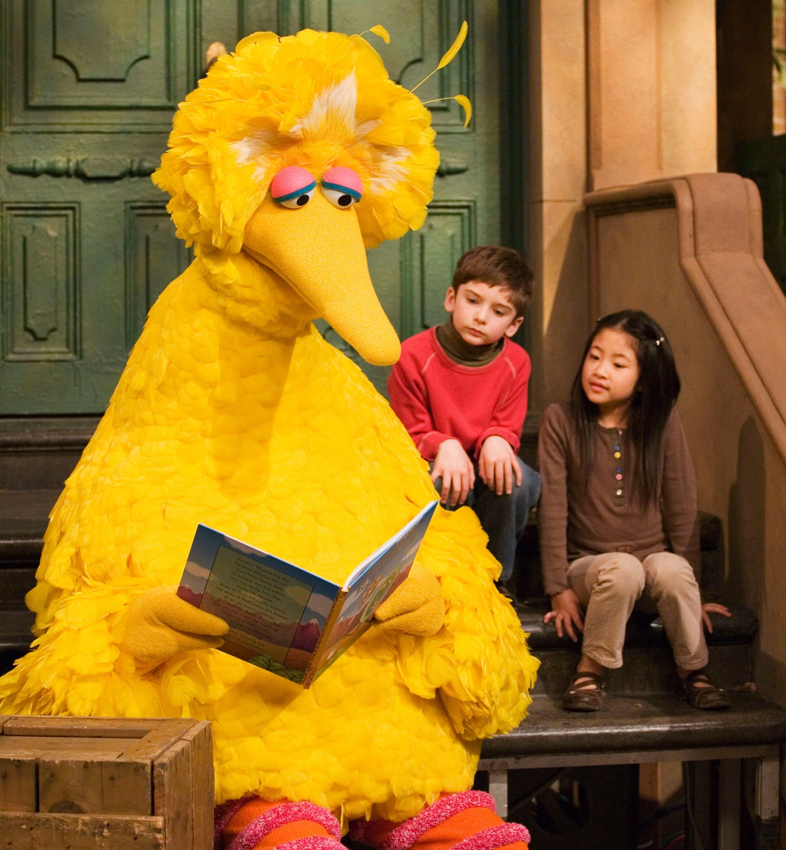 """Mandatory Credit: Photo by Mark Lennihan/AP/Shutterstock (6363967a) Caroll Spinney, Big Bird Muppet character Big Bird reads to Connor Scott and Tiffany Jiao during a taping of the children's program """"Sesame Street"""" in New York. Sesame Street continues to attract millions of viewers after 45 years on the air, appealing to both preschoolers and their parents with content that is educational and entertaining. The show has kept up with the times by making its segments faster-paced, by fine-tuning messages, and by keeping a steady flow of appearances by contemporary celebrity guests. The show first aired Nov. 10, 1969 Sesame Street 45 Years, New York, USA"""
